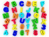 Alfabeto completo 3d con numeri — Foto Stock
