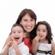 Mother, son and daughter having fun on a white background. — Stock Photo