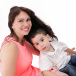 Pretty young women with her son isolated — Stock Photo