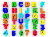 Full alphabet with numerals — Stock Photo