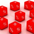 3d a cube with percent sign — Stock Photo