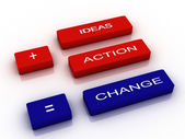 Words Ideas, Action and Change — Stock Photo
