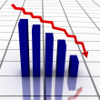 3D falling graph with red arrow — Stock Photo