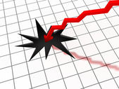 Illustration of a graph where the figures suddenly fall through — Stock Photo