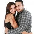 Young loving couple smiling - isolated over a white background — Stock Photo