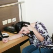 Portrait of secretary falling asleep — Stock fotografie