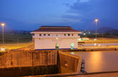 The Miraflores Locks in the Panama Canal in the sunset — Stock Photo