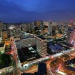 Panama City in the twilight — Stock Photo