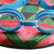 Swim googles and board isolated — Stock Photo