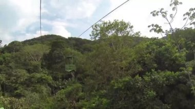 Cableway with air tram in the forest — Stock Video
