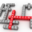 Marketing strategy related words — Stockfoto