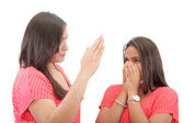 Mother preparing to slap her daughter in the face — Stock Photo