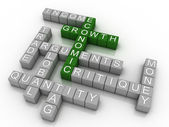 3d Background concept wordcloud illustration of economic growth — Stock Photo