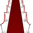 Stock Photo: 3d illustration red carpet, isolated over white background