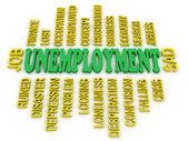 3d Unemployment message concept. Jobs crisis concept — Stock Photo
