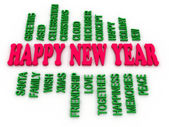 3d imagen Happy New Year in tag cloud — Stock Photo