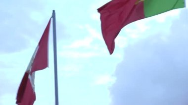 Close up of flags against the sky — Stock Video