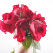 Hand holding a bouquet of withered roses — Stock Photo
