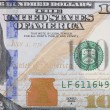 Macro shot of the right half of the new 100 USA dollar bill — Stockfoto #39588705