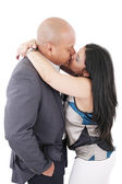 Happy couple kissing isolated — Stock fotografie