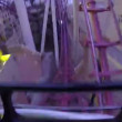 Person from extreme park in the first seat in very fast amusement Roller Coaster — Stock Video #41275279