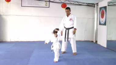 Karate master with his young student — Stock Video