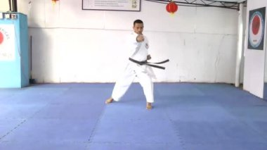 Karate Man practicing moves in Karate — Stock Video