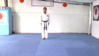 Young man preparing to make martial arts karate — Stock Video