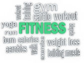 3d  Fitness and Healthy Exercise Word and Icon Cloud — Stock Photo