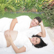 Happy beautiful pregnant woman with his husband outdoors — Stock Photo #46632311