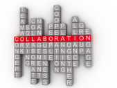 Collaboration Word Cloud Concept on a 3D  — Stock Photo