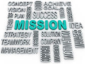 3d Mission and business concept in word tag cloud  — Stock Photo