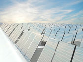 Solar Panels charging in a sunny sky — Stock Photo