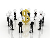 3d businessmen teamwork with US dollar sign in the middle — Stock Photo