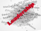 3d Leadership and teamwork word cloud illustration. Word collage — Stock Photo