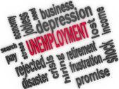 Unemployment concept. Jobless word cloud. 3d — Stock Photo