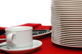 Stack of plates, cup and spoons — Foto de Stock