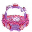 Handicraft of beads crystal basket shaped plastic bowl - Photo