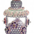 Craft beaded crystal as a decoration on the jar - Photo