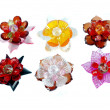 A craft beaded crystal of flower-shaped brooch - Photo