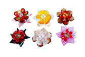 A craft beaded crystal of flower-shaped brooch — Stock Photo