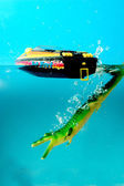 Alligators toy and boats — Stock Photo