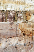 Various textures of soil layers — Стоковое фото