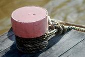 Rope mooring mast ship — Stock Photo