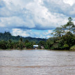 View of a village on the banks of the river Malinau, Indonesia - Stock Photo