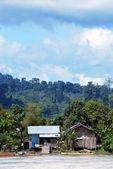 Widok wsi nad brzegiem rzeki malinau, indonezja — Zdjęcie stockowe
