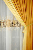 Golden yellow silk curtain — Stok fotoğraf