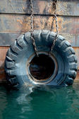 Used tires on the ship — Stock Photo
