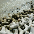 Tetrapods on the beach — Stock Photo