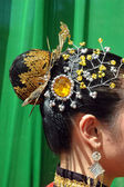 Ornaments on the hair and the head of the traditional dancers — Stock Photo